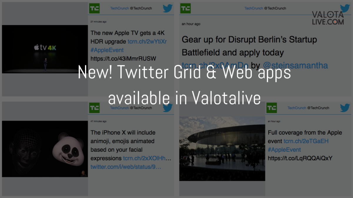 New! Twitter Grid & Web apps available in Valotalive